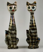 A Pair Of 1950's Lustre Ware Jema -Holland Cat Vases